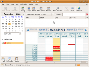 Thunderbird with Lightning installed, showing Calendar module