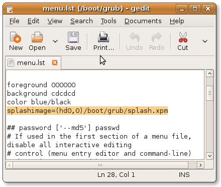 Editing GRUB configuration file