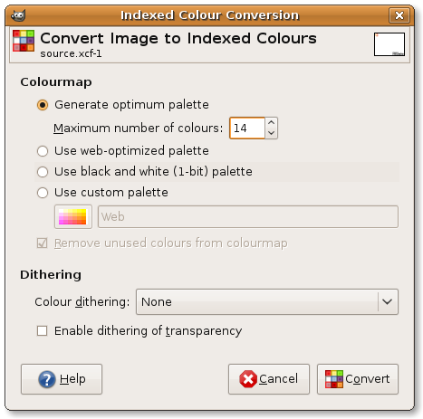 Convert to Indexed Colours