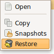 Restore a file in Back in Time