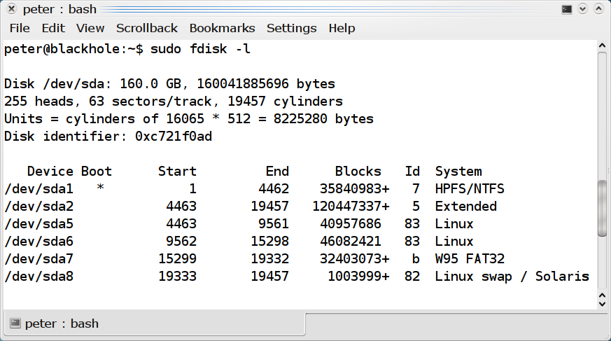 Fdisk -l screenshot
