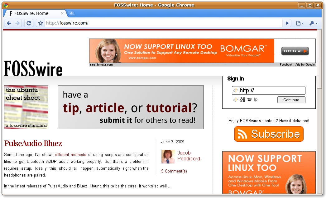 Chrome displaying the FOSSwire homepage