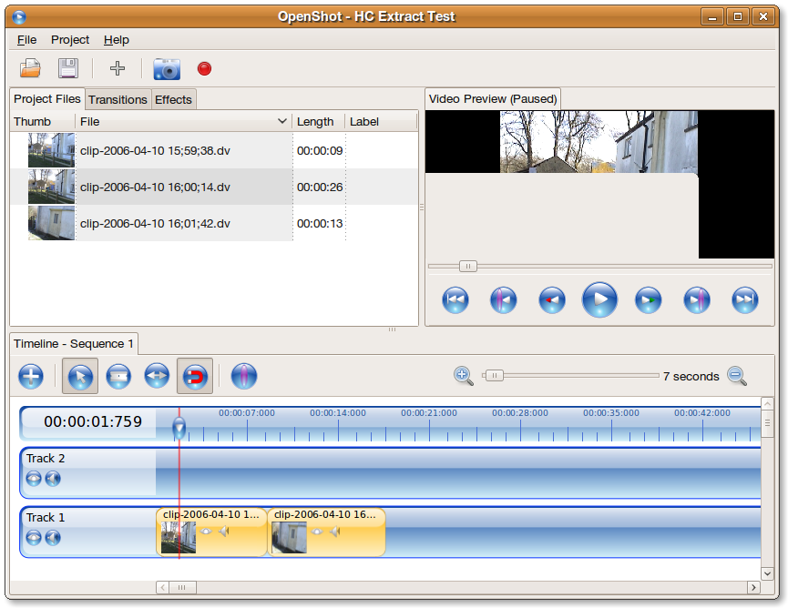 OpenShot interface for editing video