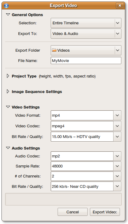 Export video dialogue box