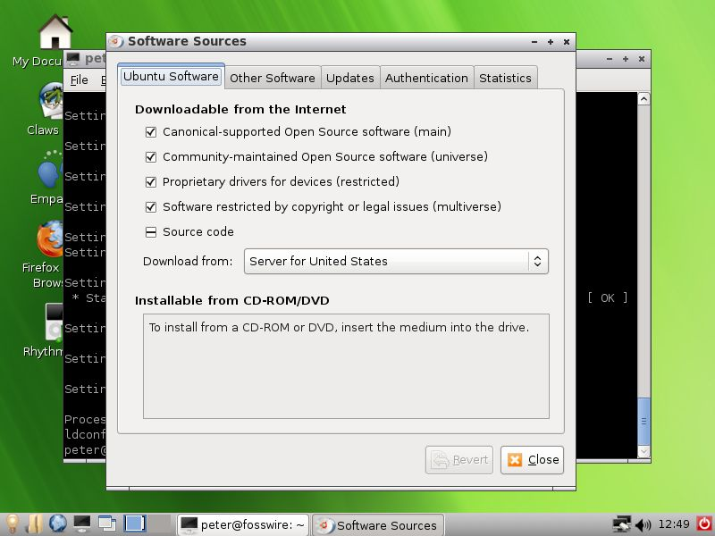 WattOS showing Ubuntu Software Sources selection